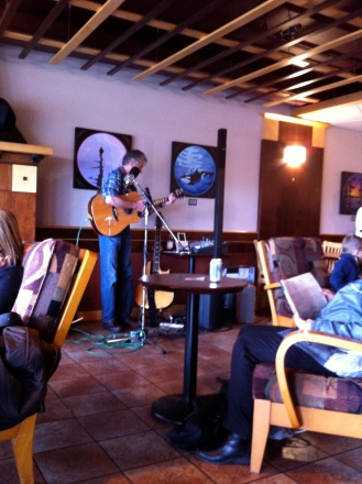 Now, there was great anticipation for this guy to play at our favourite coffee shop in Victoria. Then he started to play. We sat with frozen grins on faces for first few songs. Then left quickly.