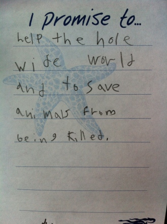 Encourged by child's note posted at the Ocean Discovery Centre in Sidney BC