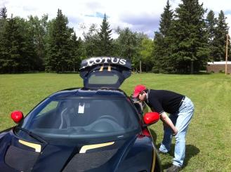 Michael investigating a Lotus.