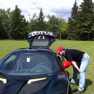 Michael investigating a Lotus.