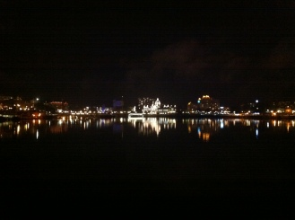 Victoria's inner harbour at night.
