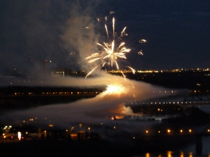 Canada Day fire works with dramatic smoke.