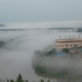 Fog in the river valley.