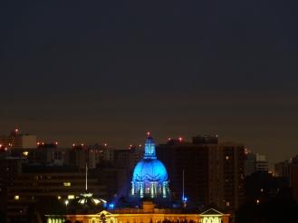 Blue domed Legislature.