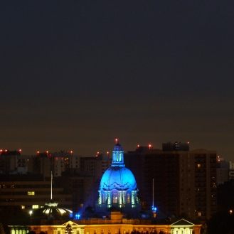 Blue domed Legislature.